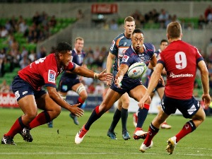 MICHAEL RURU of the Rebels reaches for a stray ball during the Super Rugby match between the Melbourne Rebels and the Queensland Reds at AAMI Park in Melbourne, Australia.
