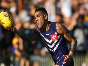 MICHAEL WALTERS of the Dockers attempts to mark the ball on the boundary line during the JLT Community Series AFL match between the Fremantle Dockers and the West Coast Eagles at HBF Arena in Perth, Australia.