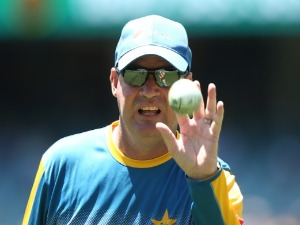MICKEY ARTHUR, head coach of Pakistan helps his team warm up during the One Day International series between Australia and Pakistan at Adelaide Oval in Adelaide, Australia.