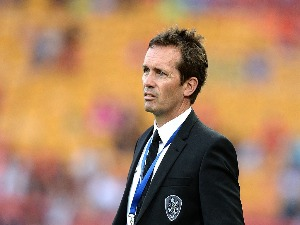 Coach MIKE MULVEY of the Roar watches on during the A-League match between the Brisbane Roar and Adelaide United at Suncorp Stadium in Brisbane, Australia.