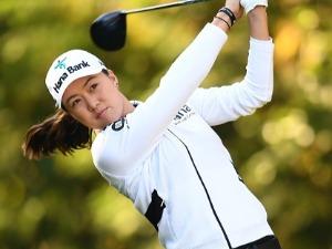 MINJEE LEE of Australia hits her tee shot during the final round of the TOTO Japan Classics 2017 at the Taiheiyo Club Minori Course in Omitama, Ibaraki, Japan.