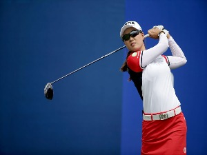 MINJEE LEE of Australia plays her tee shot on the first hole during the final round of the ANA Inspiration at Mission Hills Country Club in Rancho Mirage, California.