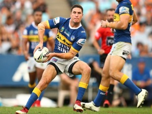 MITCHELL MOSES of the Eels in action during the NRL match between the Wests Tigers and the Parramatta Eels at ANZ Stadium in Sydney, Australia.
