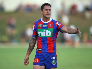 MITCHELL PEARCE of the Knights warms up during the NRL Trial Match between the Newcastle Knights and the Parramatta Eels at Maitland No 1 Showground in Newcastle, Australia.