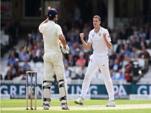 MORNE MORKEL of South Africa celebrates after trapping Alastair Cook of England lbw during the 3rd Investec Test match between England and South Africa at The Kia Ova in London, England.