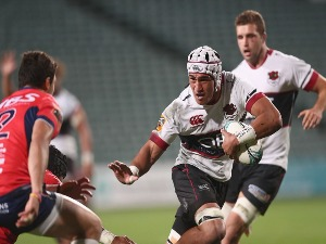 MURPHY TARAMAI of North Harbour fends during Mitre 10 Cup match between North Harbour and Tasman in Albany, New Zealand.