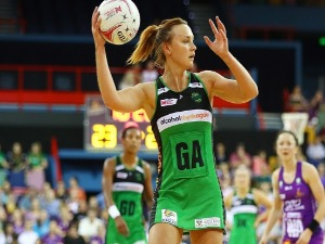 NATALIE MEDHURST of the Fever passes during the Super Netball match between the Firebirds and the Fever at Brisbane Entertainment Centre in Brisbane, Australia.