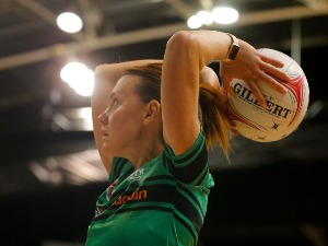 NATALIE MEDHURST of the West Coast Fever practices her shooting before the Super Netball match between the Fever and the Swifts at HBF Stadium in Perth, Australia.