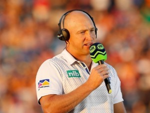 NATHAN BROWN head coach of the Knights is interviewed prior to the NRL match between the Wests Tigers and the Newcastle Knights at Scully Park in Tamworth, Australia.