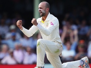 NATHAN LYON of Australia celebrates taking the wicket of Dawid Malan of England during the Fifth Test match in the Ashes Series between Australia and England at SCG in Sydney, Australia.