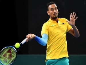 NICK KYRGIOS of Australia plays a forehand against Jan-Lennard Struff of Germany during the Davis Cup match at Pat Rafter Arena in Brisbane, Australia.