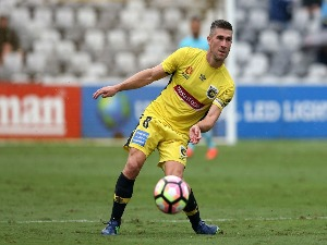 NICK MONTGOMERY of the Mariners in action during the A-League match between the Central Coast Mariners and Melbourne City FC at Central Coast Stadium in Gosford, Australia.