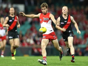 NICK SMITH of the Swans kicks during the AFL match between the Sydney Swans and the Essendon Bombers at SCG in Sydney, Australia.