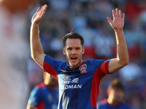 NIGEL BOOGAARD of the Jets reacts to a free kick during the round four A-League match between the Newcastle Jets and the Western Sydney Wanderers at McDonald Jones Stadium in Newcastle,Australia.