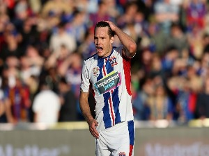 NIGEL BOOGAARD of the Jets reacts during the A-League match between the Central Coast Mariners and the Newcastle Jets at Central Coast Stadium in Gosford, Australia.
