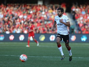 NIKOLAI TOPOR-STANLEY of the Wanderers chases the ball during the A-League Grand Final match between Adelaide United and the Western Sydney Wanderers at Adelaide Oval in Adelaide, Australia.