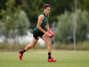 ORAZIO FANTASIA of the Bombers in action during the Essendon Bombers training session at The Hangar in Melbourne, Australia.