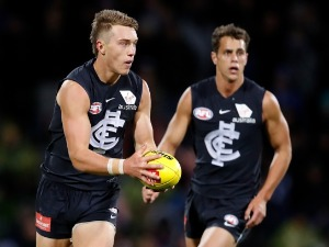 PATRICK CRIPPS of the Blues in action during the 2018 AFL match between the North Melbourne Kangaroos and the Carlton Blues at Blundstone Arena in Hobart, Australia.