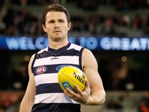 PATRICK DANGERFIELD of the Cats looks on during the 2017 AFL Second Semi Final match between the Geelong Cats and the Sydney Swans at the MCG in Melbourne, Australia.