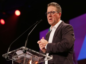 AFLPA CEP PAUL MARSH speaks during the AFL Players' MVP Awards at Shed 14 Central Pier in Melbourne, Australia.