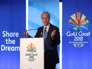 PETER BEATTIE talks to media during the Commonwealth Games 'One Year To Go' World Press Briefing in Gold Coast, Australia.