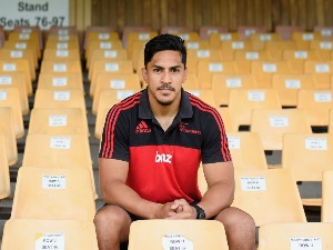 PETER SAMU of the Crusaders poses during the Crusaders 2018 Squad Announcement at Rugby Park in Christchurch, New Zealand.