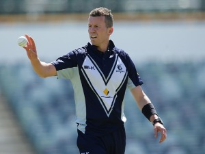 PETER SIDDLE of the Bushrangers prepares to bowl during the JLT One Day Cup match between Victoria and Western Australia at WACA in Perth, Australia.