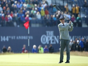 PETER THOMSON of Australia tees off on the Champion Golfers' Challenge ahead of the 144th Open Championship at The Old Course in St Andrews, Scotland.