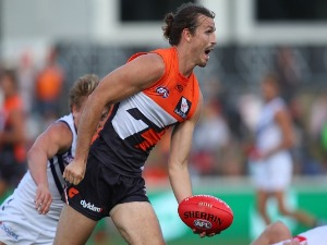 PHIL DAVIS of the Giants in action during the AFL match between the Greater Western Sydney Giants and the Fremantle Dockers at UNSW Canberra Oval in Canberra, Australia.