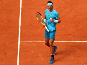 RAFAEL NADAL of Spain celebrates during the mens singles final against Dominic Thiem of Austria during the 2018 French Open at Roland Garros in Paris, France.