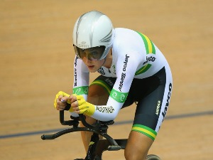 REBECCA WIASAK of Australia wins gold in the Women's Individual Pursuit Final during the UCI Track Cycling World Championships at National Velodrome in Paris, France.