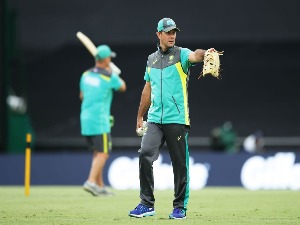 Australian assistant coach RICKY PONTING looks on during the International Twenty20 series between Australia and New Zealand at SCG in Sydney, Australia.