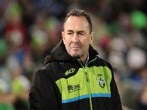 Raiders coach RICKY STUART watches on during the NRL match between the Canberra Raiders and the Canterbury Bulldogs at GIO Stadium in Canberra, Australia.
