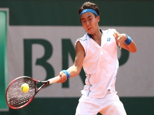 RINKY HIJIKATA of Australia in action during the boys singles against Arnaud Bovy of Belgium at Roland Garros in Paris, France