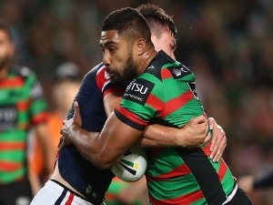 ROBERT JENNINGS of the Rabbitohs is tackled during the NRL Preliminary Final match between the Sydney Roosters and the South Sydney Rabbitohs at AS in Sydney, Australia.