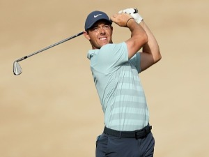RORY MCILROY of Northern Ireland plays during the final round of the Omega Dubai Desert Classic at Emirates Golf Club in Dubai, United Arab Emirates.