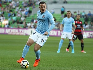ROSS McCORMACK of the City controls the ball during an A-League match at AAMI Park in Melbourne, Australia.