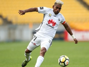 ROY KRISHNA of the Phoenix in action during the A-League match between the Wellington Phoenix and the Perth Glory at Westpac Stadium in Wellington, New Zealand.
