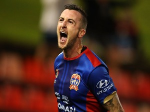 ROY O'DONOVAN of the Jets celebrates a goal during the A-League match between the Newcastle Jets and the Wellington Phoenix at McDonald Jones Stadium in Newcastle, Australia.