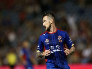 ROY O'DONOVAN of the Jets reacts to a missed goal during the A-League match between the Newcastle jets and the Perth Glory at McDonald Jones Stadium in Newcastle, Australia.
