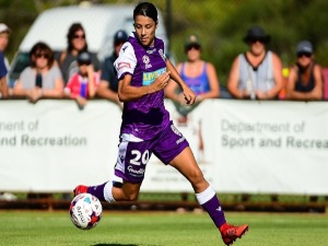 SAM KERR of Perth Glory finds space near the goals during the W-League match between the Perth Glory and Canberra United at Hay Park in Bunbury, Australia.