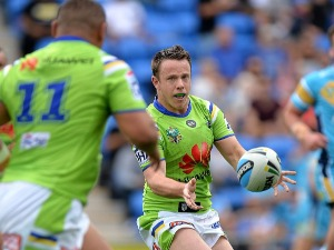 SAM WILLIAMS of the Raiders passes the ball during the NRL match between the Gold Coast Titans and the Canberra Raiders at Cbus Super Stadium in Gold Coast, Australia.