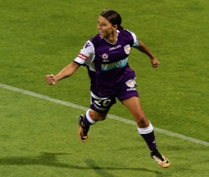 SAMANTHA KERR of the Glory celebrates after scoring a goal during the W-League match at nib Stadium in Perth, Australia.