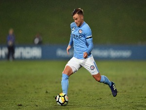 SCOTT JAMIESON of Melbourne City makes a break during the A-League match between the Wellington Phoenix and Melbourne City FC at QBE Stadium in Auckland, New Zealand.