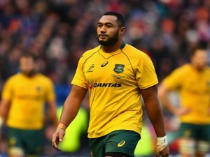 SEKOPE KEPU of Australia reacts to being shown a red card during the international match between Scotland and Australia at Murrayfield Stadium in Edinburgh, Scotland.