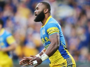 SEMI RADRADRA of the Eels celebrates after he scores a try during the NRL Qualifying Final match between the Melbourne Storm and the Parramatta Eels at AAMI Park in Melbourne, Australia.