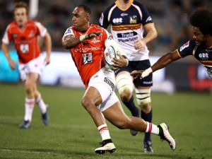 SEMISI MASIREWA of the Sunwolves makes a break during the Super Rugby match between the Brumbies and the Sunwolves at GIO Stadium in Canberra, Australia.