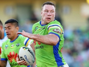 SHANNON BOYD of the Raiders makes a line break during the NRL match between the Canberra Raiders and the Gold Coast Titans at GIO Stadium in Canberra, Australia.