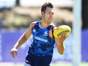 SHAUN HIGGINS of the Kangaroos runs with the ball during a North Melbourne Kangaroos AFL training session at Arden Street Ground in Melbourne, Australia.