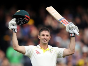 SHAUN MARSH of Australia celebrates after reaching his century during the Second Test match of the 2017/18 Ashes Series at Adelaide Oval in Adelaide, Australia.